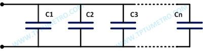 contoh cara menghitung kapasitansi total rangkaian kapasitor seri paralel