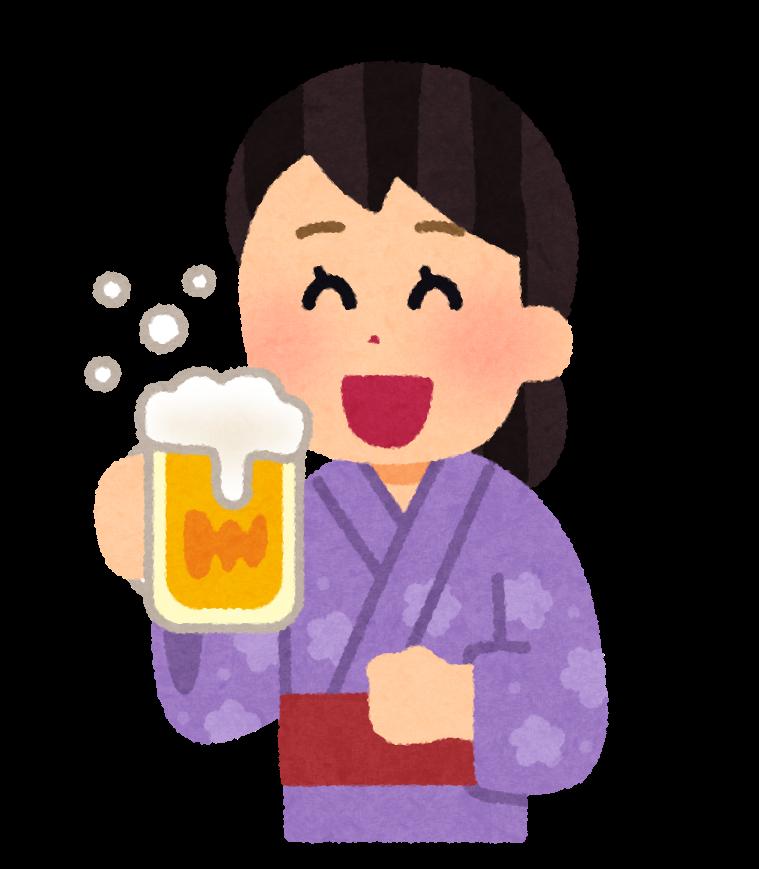 浴衣でビールを飲む人のイラスト 女性 かわいいフリー素材集 いらすとや