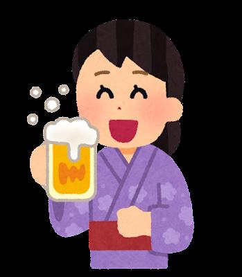 浴衣でビールを飲む人のイラスト(女性)