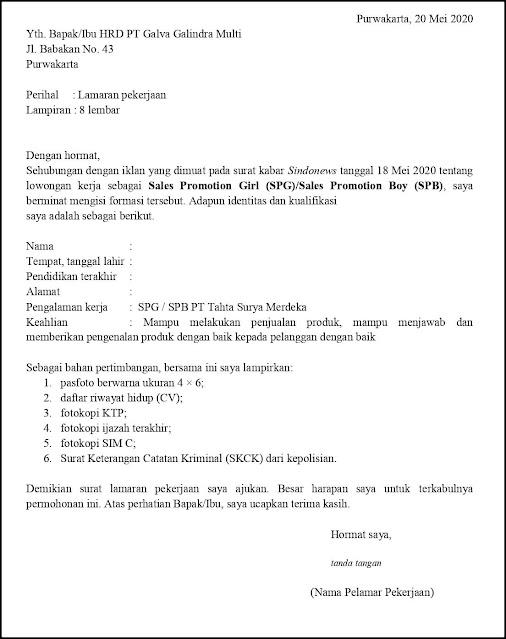 Contoh Surat Lamaran Kerja Untuk Sales Promotion Girl (SPG) - Sales Promotion Boy (SPB)  (Fresh Graduate & Experienced)