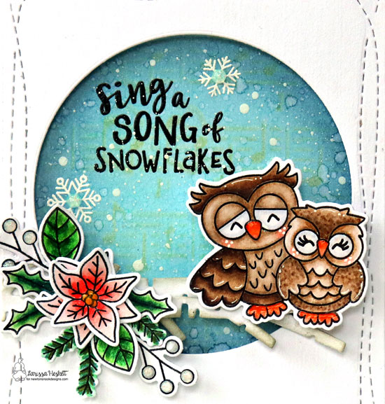 Sing a Song of Snowflakes Card by Larissa Heskett | Love Owl-ways Stamp Set, Poinsettia Blooms Stamp Set, Winter Birds Stamp Set and Forest Scene Builder Die Set and Music Stencil by Newton's Nook Designs #newtonsnook #handmade