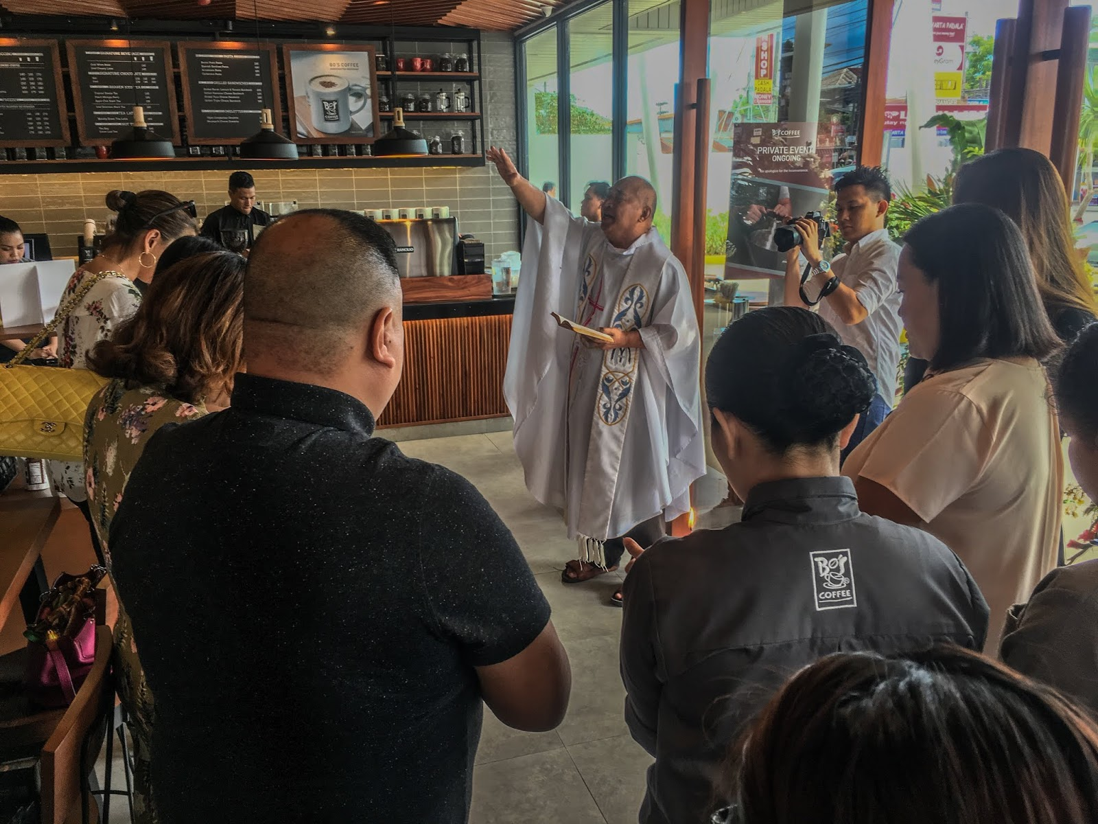Bos Coffee Mactan Town Center Priest Blessing