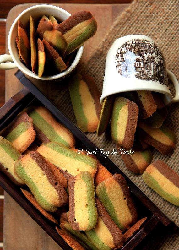 Resep Kue Kering Lidah Kucing Tiga Rasa Original Green Tea