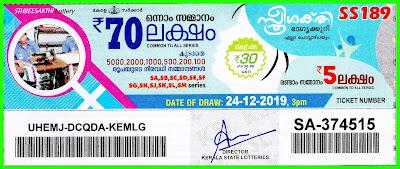 Kerala Lottery Result 24-12-2019 Sthree Sakthi SS-189