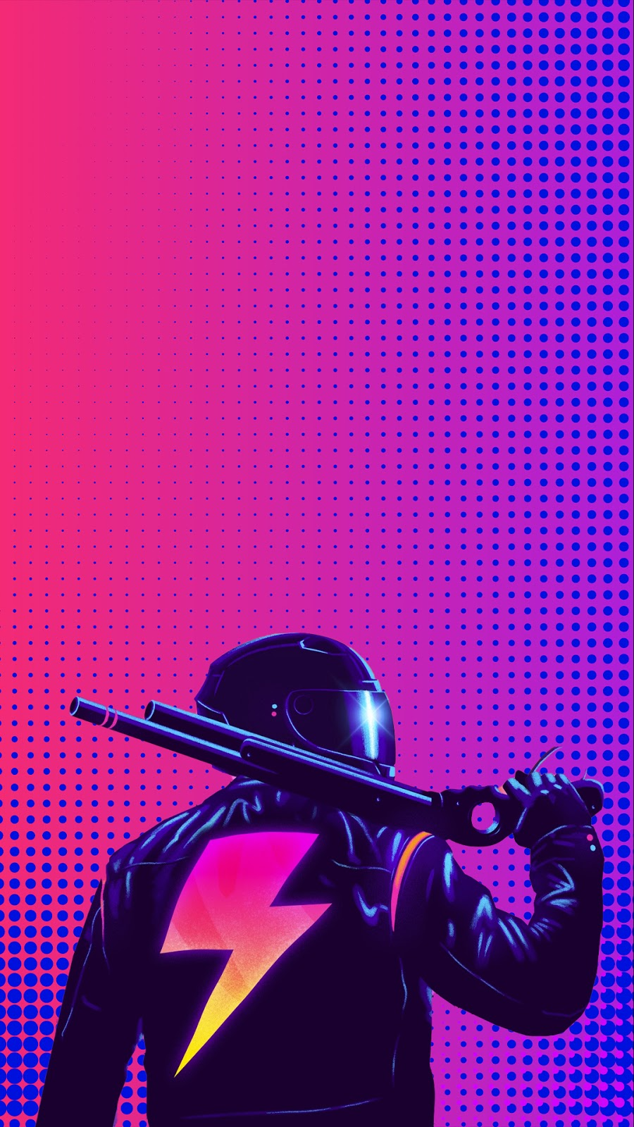 cyberpunk gun pink purple background phone wallpaper in 1080p