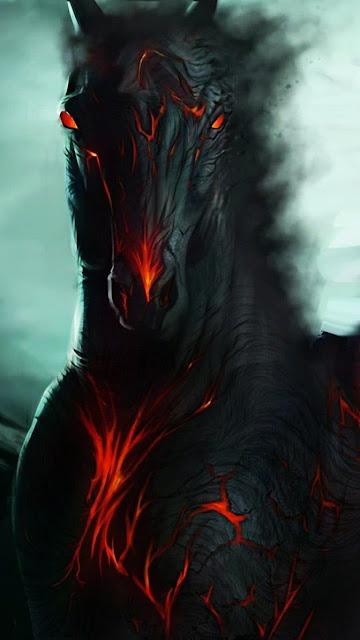 cavallo, sfondo fantasy cavallo nero infuocato