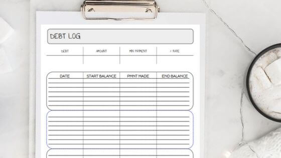 debt log printables