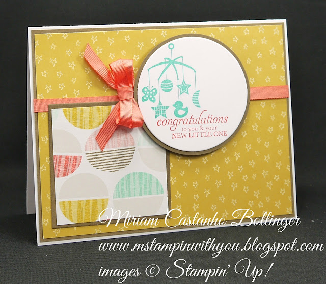 "Miriam Castanho-Bollinger, #mstampinwithyou, stampin up, demosntrator, mm, mm, baby card, sweet li'l things dsp, best year ever dsp, big shot, squares collection, circles framelit collection, 2-1/2"" circle punch, best year ever accessory pack, sweetest gift, su"