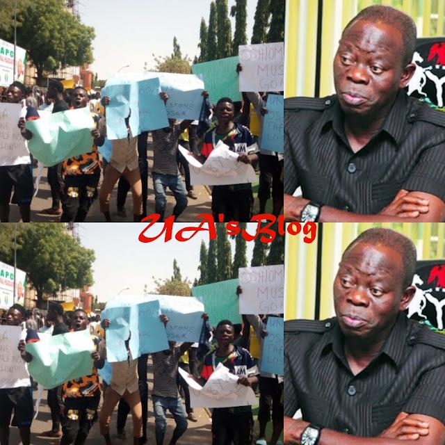 Protesters Storm APC Secretariat, Demand Oshiomhole's Sack