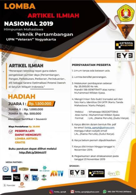 Lomba Menulis Artikel Nasional 2019 di UPN Veteran Yogyakarta