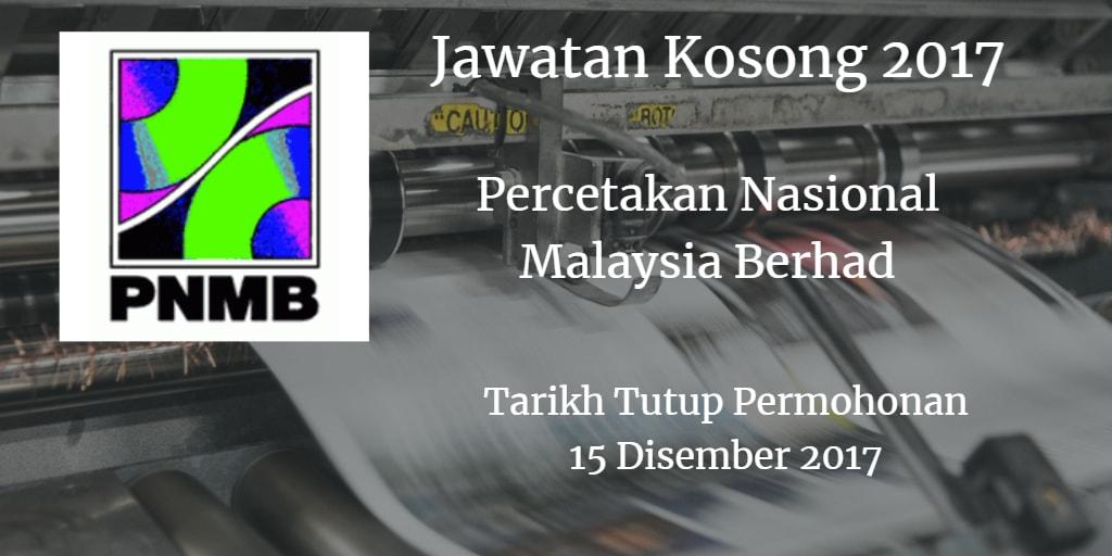 Jawatan Kosong PNMB 15 Disember 2017