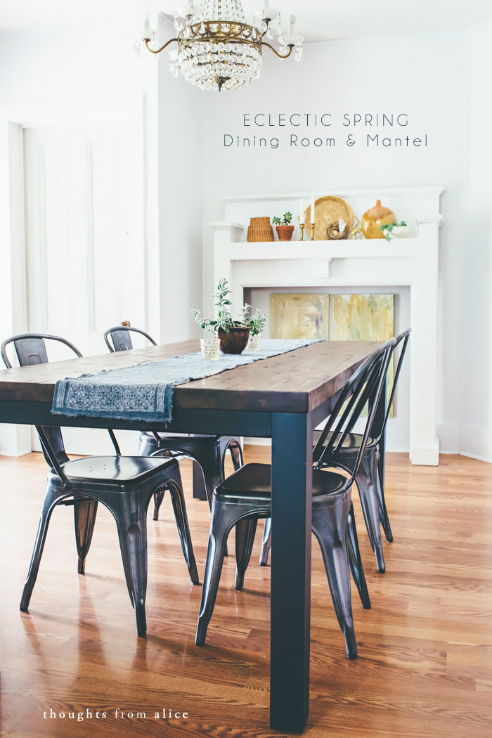 Eclectic Spring Dining Room & Mantel