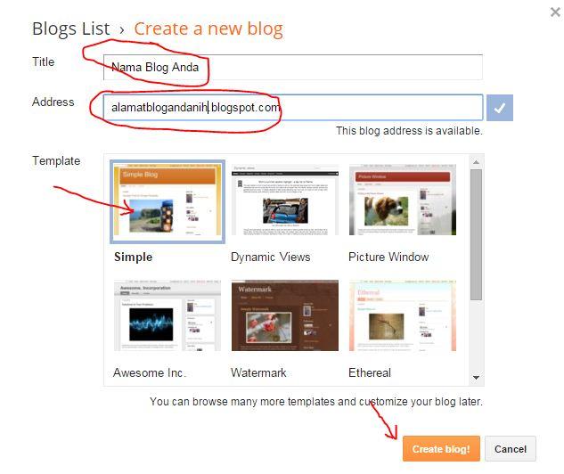nama dan alamat blog