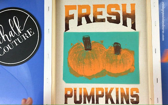 Vintage Paint and more... applying the chalk paste to the pumpkin transfer for a Fall sign