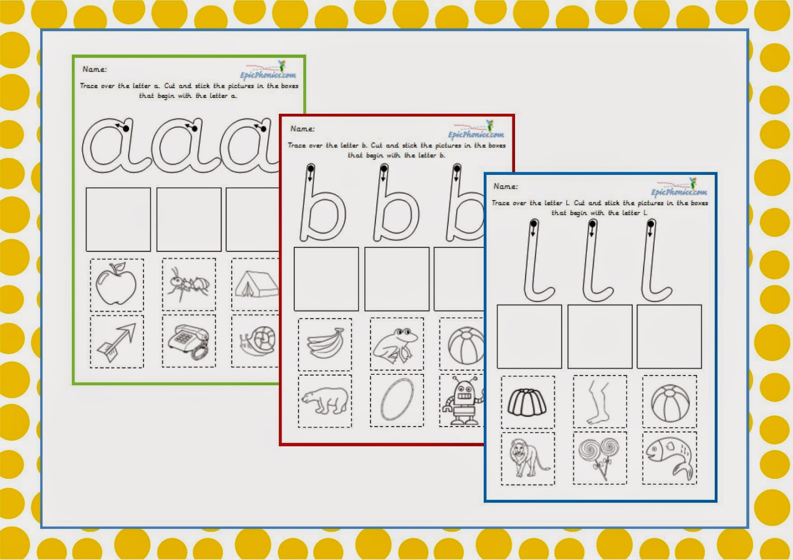 Simply Kids Learning Free Phonics Cut And Stick Printable