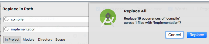 Android Studio : Configuration 'compile' is obsolete and has