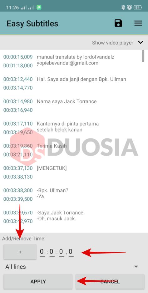 cara mengubah timing subtitle di android
