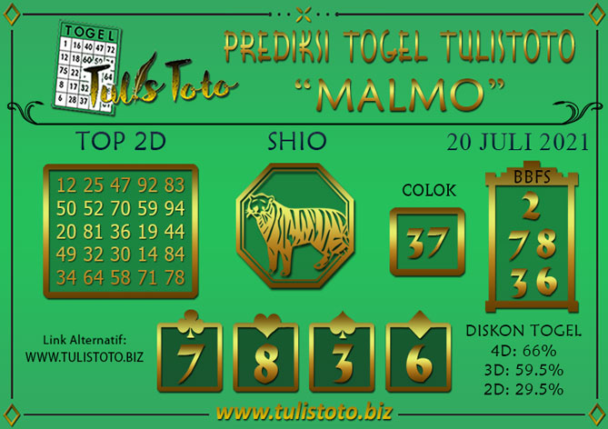 Prediksi Togel MALMO TULISTOTO 20 JULI 2021