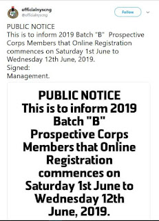 NYSC Announces Date for the 2019 Batch 'B' Online Registration