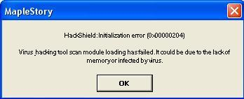 X MapleSEA — HackShield Initialization Error