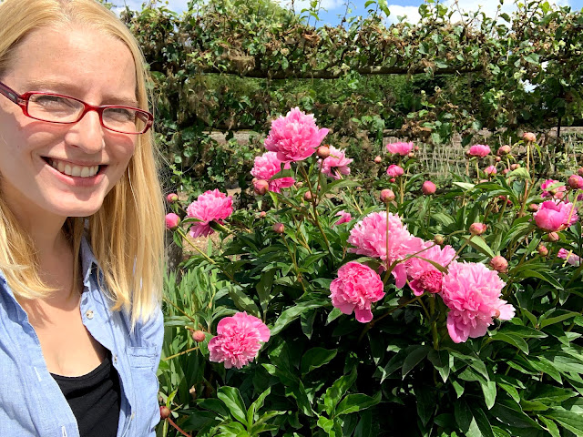 Me crouching down next to some pink peonies in the garden at audley end house