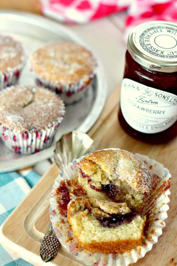 Easy Strawberry Jam Doughnut Muffins