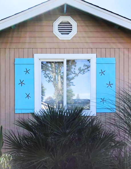 Blue Decorative Coastal Shutters Starfish Cutouts