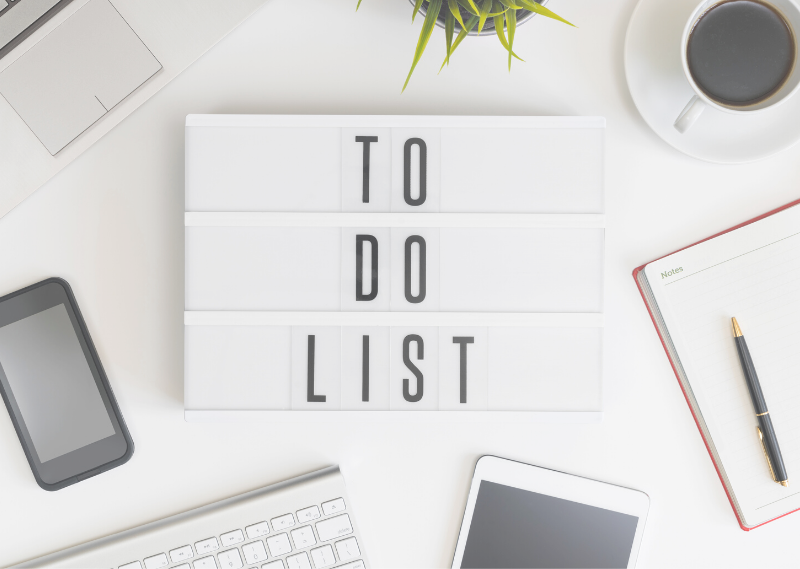 "A light box saying ""To do list"" in a post about 13 simple tasks you can do to set you up for a productive week."