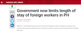 """Isn't it awkward that foreigners ind job and given permits in the Philippines while hundreds of thousands o overseas Filipino workers are scattered everywhere in the world just to find  descent jobs to feed their families?`       Ads    The Philippine government now limits the length of stay of foreigners working in the country with special working permits, as it starts to enforce stricter rules of employment on foreign nationals.   This is part of the government's intensified campaign against illegal aliens working in the country.  The Department of Labor and Employment (DOLE) said special work permits for foreign workers are not anymore renewable.   """"Under the current policy, ang issuance po ng special work permit ay one time na lamang po (the issuance of special work permits is just for one time), non-extendable, maximum of six months,"""" said Dominique Rubia-Tutay of DOLE's Bureau of Local Employment.  Tutay said the foreign worker also has to submit a list of his activities before a special work permit could be issued.  The labor department, together with other government agencies, signed on Thursday a Joint Memorandum Circular which would require foreigners intending to work in the Philippines to a more rigid and strict employment process.  Aside from limited special work permits, all foreign workers are now required to get a Tax Identification Number or TIN from the Bureau of Internal Revenue (BIR).   """"Anybody working in the Philippines has to pay taxes, just as Filipinos who are working abroad pay taxes, it is a matter of following the law and fairness to our people,"""" said Finance Secretary Carlos Dominguez.  Dominguez said the government may be able to collect an estimated P2.5 billion in taxes every month from around 138,000 foreign workers in the country.  But before any business or establishment employs a foreign worker, it has to get a """"Certification of No Objection"""" from DOLE.  Tutay said if there are objections in hiring the foreign worker, the position"""
