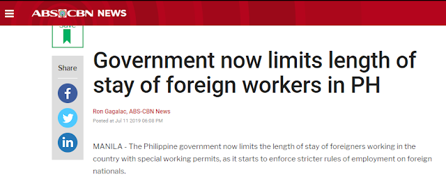 "Isn't it awkward that foreigners ind job and given permits in the Philippines while hundreds of thousands o overseas Filipino workers are scattered everywhere in the world just to find  descent jobs to feed their families?`       Ads    The Philippine government now limits the length of stay of foreigners working in the country with special working permits, as it starts to enforce stricter rules of employment on foreign nationals.   This is part of the government's intensified campaign against illegal aliens working in the country.  The Department of Labor and Employment (DOLE) said special work permits for foreign workers are not anymore renewable.   ""Under the current policy, ang issuance po ng special work permit ay one time na lamang po (the issuance of special work permits is just for one time), non-extendable, maximum of six months,"" said Dominique Rubia-Tutay of DOLE's Bureau of Local Employment.  Tutay said the foreign worker also has to submit a list of his activities before a special work permit could be issued.  The labor department, together with other government agencies, signed on Thursday a Joint Memorandum Circular which would require foreigners intending to work in the Philippines to a more rigid and strict employment process.  Aside from limited special work permits, all foreign workers are now required to get a Tax Identification Number or TIN from the Bureau of Internal Revenue (BIR).   ""Anybody working in the Philippines has to pay taxes, just as Filipinos who are working abroad pay taxes, it is a matter of following the law and fairness to our people,"" said Finance Secretary Carlos Dominguez.  Dominguez said the government may be able to collect an estimated P2.5 billion in taxes every month from around 138,000 foreign workers in the country.  But before any business or establishment employs a foreign worker, it has to get a ""Certification of No Objection"" from DOLE.  Tutay said if there are objections in hiring the foreign worker, the position will undergo a labor market test.  Foreign workers will also have to get a ""Certificate of No Derogatory Information"" from the National Intelligence Coordinating Agency.   DOLE said this is to address President Rodrigo Duterte's concern that a foreigner may be a threat to national security.  The foreign worker will also be subject to an inspection by the Immigration Bureau, the BIR and DOLE.  ""Mas marami kami mahuhuli ngayon na illegal (Now we will be able to catch more illegal workers),"" said Labor Secretary Silvestre Bello III.  Justice Secretary Menardo Guevarra said the joint memo comes at a time when reports of untaxed and unregistered foreign workers have been proliferating in the country.   ""We expect that all foreign workers in our country would be clarified as to the rules and regulations,"" Guevarra said.  ""Any serious violation of these employment rules and regulations and of immigration rules will carry immediate deportation,"" Guevarra said.  Ads      Sponsored Links    The BIR said this was borne out of the influx of workers in online gaming companies that mostly employ Chinese workers.    ""BIR is running after this online gaming. We are having difficulty and challenges in these foreign workers,"" said BIR Deputy Commissioner Arnel Guballa.    DOLE records show there are about 138,000 foreign nationals working in the country, of which 63,000 are working in more than 50 operators of online gaming sites. About 80 percent of this figure are Chinese nationals."