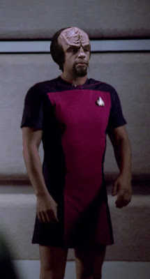 Worf wearing TNG skant uniform