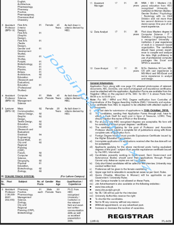 Lahore College for Women University Jobs 2018 Advertisement Page No 2