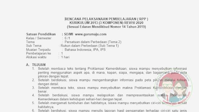 RPP 1 LEMBAR KELAS 6 SEMESTER 1 TEMA 2