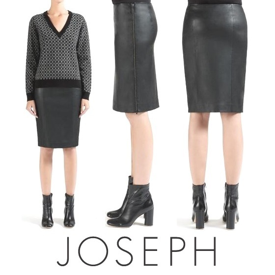 JOSEPH Leather Stretch Brent Skirt