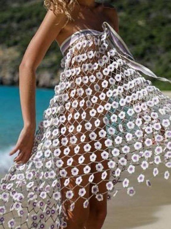 crochet flowers dress