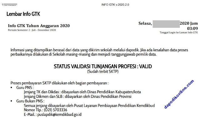 Contoh Lembar Info GTK Valid Sudah Terbit SKTP