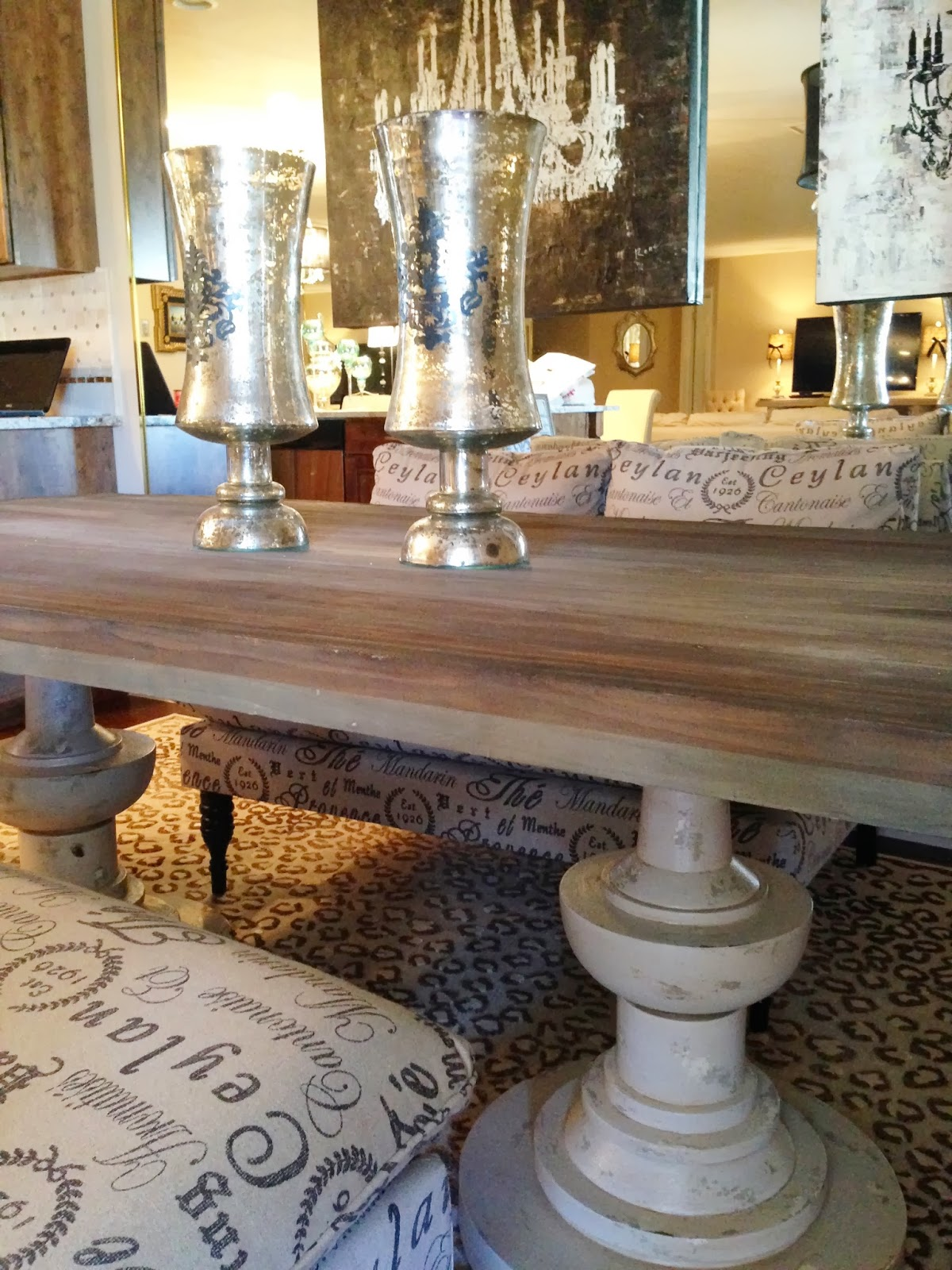 Reclaimed Wood And French Script Dining Table Purple