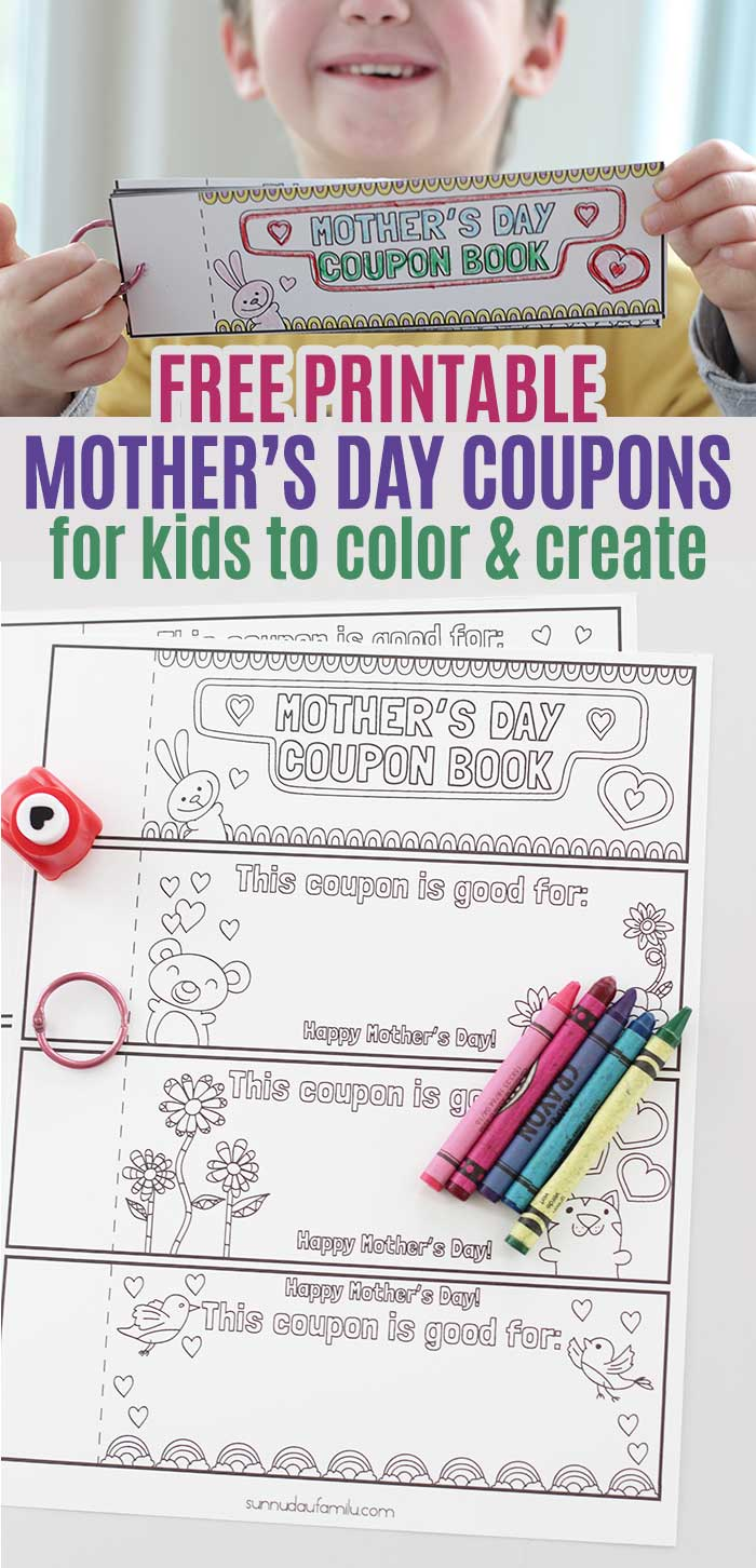 Free printable Mother's Day coupons for kids to color and create! Moms will love these printable coupons for Mother's Day - it's a totally personalized, kid made gift that she will treasure. Love this simple Mother's Day gift idea for kids to make themselves. #mothersday #giftideas #forkids #kidscraft #freeprintable
