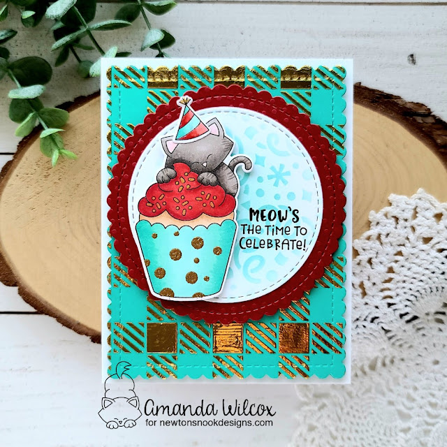 Birthday Cat and Cupcake Card by Amanda Wilcox | Newton's Cupcake Stamp Set,Circle Frames Die Set, Bubbly Stencil, Confetti Stencil and Gingham Stencil by Newton's Nook Designs #newtonsnook #handmade