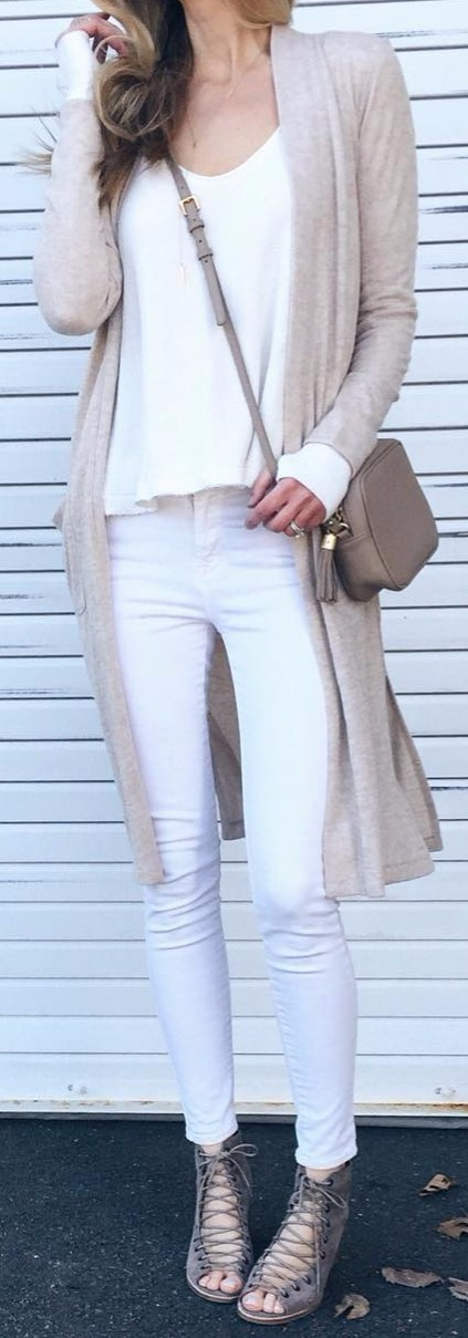 white + nudes; the mix of jeans, top and a cardi