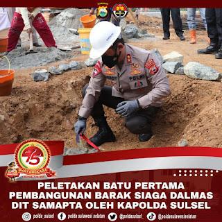 Kapolda Sulsel Melakukan Peletakan Batu Pertama Pembangunan Flat Siaga Dalmas Dit Samapta Polda Sulsel