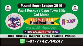 Who will win Today MSL 2019, 3rd Match CTB vs PR 3rd, Mzansi 2019 - MSL T20
