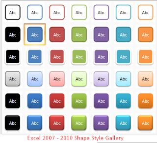 Excel 2007 - 2010 Galeri Gaya SHAPES