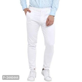 Men's Cotton Blend Solid Slim Fit Trousers