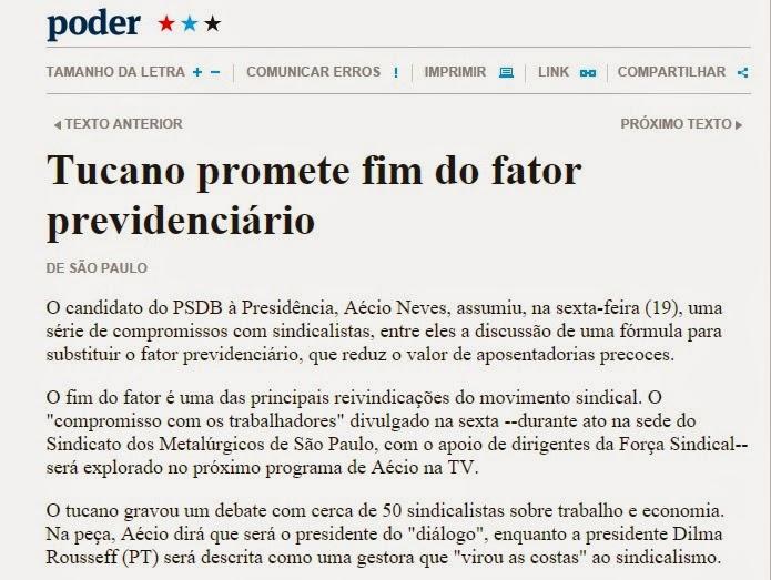 Aecio neves PSDB Fator Previdenciario