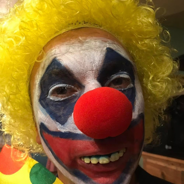 Adrian in clown costume