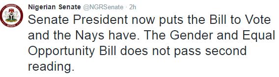 Nigeria Senate rejects bill on gender equality in marriage, divorce, inheritance etc
