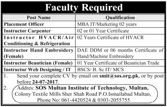 Jobs in SOS Multan Institute of Technology 18 July 2017