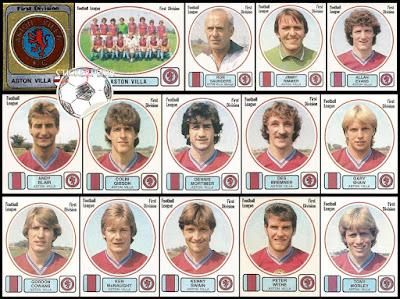 Panini football 82 stickers england aston villa