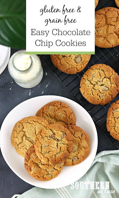 Easy Gluten Free Grain Free Chocolate Chip Cookies Recipe - Almond Flour Chocolate Chip Cookies, grain free, gluten free, healthy